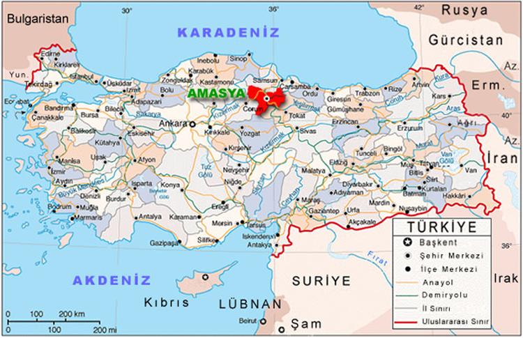 موقع مدينة اماسيا التركية